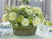 Green and white bouquet with green apples (Malus), Dianthus (carnation)