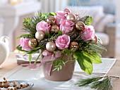 Christmas bouquet with pink (rose), pinus (pine), eucalyptus