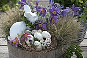 Wooden tub with Pulsatilla as Easter basket