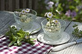Homemade herb butter decorated with Bellis perennis