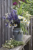 Blue and white bouquet from Salvia pratensis and Leucanthemum