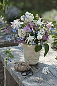 Bouquet with Aquilegia, Syringa vulgaris, Galium