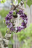 Small scented wreath of syringa (lilac) and cardamine pratensis