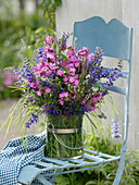 Meadow bouquet of Salvia pratense (meadow sage), Silene dioica