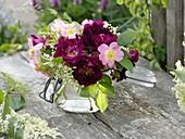 Small bouquet of Rosa rubiginosa, semiplena and 'Tuscany'