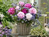 Bouquet of Paeonia, Phacelia in basket vase