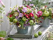 Bouquet of green apples, raspberries, Rose, malva