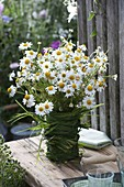 Camomile bouquet in grass-wrapped vase