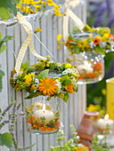 Lanterns with medicinal herbs, wreaths, calendula