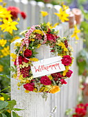 Red-yellow wreath with tea herbs