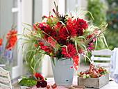 Red bouquet with gladiolus, dahlia 'Garden Wonder'