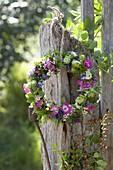 Kranz aus Lavendel (Lavandula), Filipendula (Mädesüß), Juniperus