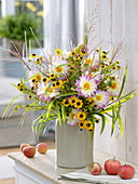 Rural bouquet of Dahlia, Rudbeckia and grasses
