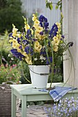Blue and yellow bouquet of Gladiolus, Aconitum, Verbena