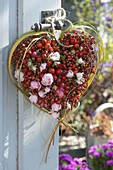 Bunched rose rosehip heart