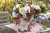 Autumnal bouquet with Rose, Lathyrus odoratus