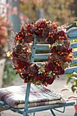 Autumn wreath made of chrysanthemum (autumn chrysanthemum), hydrangea