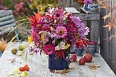 Colorful autumn zinnia bouquet, Antirrhinum