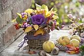 Autumn arrangement with Brassica, Symphoricarpos