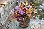Autumnal bouquet with leaves, Chrysanthemum