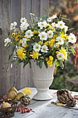 White-yellow autumn bouquet with anemone japonica (autumn anemone)