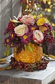 Autumn bouquet of Rose, chrysanthemum