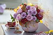 Autumn bouquet with Rose, chrysanthemum