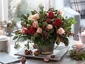 Winter bouquet of Rose, Ilex, Hedera