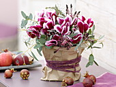 Autumn bouquet of Cyclamen (cyclamen), Eucalyptus, Calluna