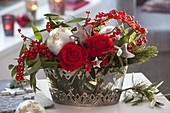 Red-silver arrangement with 'Orange Sky' rose, Euphorbia fulgens' Red