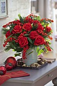 Red Christmas Bouquet with Rose 'Orange Sky', Euphorbia fulgens