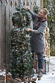 Woman adorns Christmas tree branches with twigs of Picea omorica