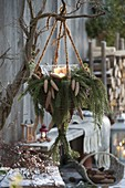 Traffic light basket from Salix, with candles, twigs and cones