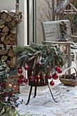 Christmas decorated iron fire basket with Picea wreath
