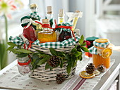 Gift basket with homemade vinegar and oil specialties