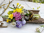 Small early spring bouquet with crocus, hyacinthus