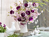 Easter bouquet with Prunus sargentii 'Accolade'