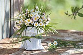 Small bouquet of Bellis perennis (daisies) and grasses