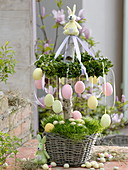 Easter table decoration with book wreaths