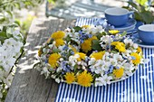 Spring wreath of Malus, Taraxacum and Myosotis