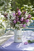 Bouquet of twigs of malus (ornamental apple), spiraea (Spierstrauch)