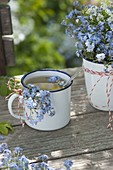 Tea and bouquet from Myosotis (forget-me-not)