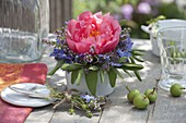Small bouquet of Paeonia, sage, borage