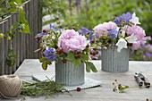 Small bouquets from Paeonia, Campanula