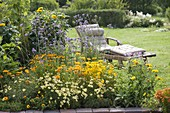 Yellow summer bed with perennials and summer flowers