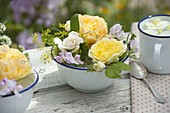 Enameled small bowls with Rose, Lathyrus