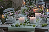 Romantic table decoration with perennial peas
