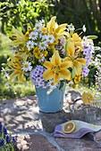 Summer bouquet with Lilium, Phlox, Helenium