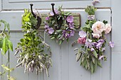 Tea herbs hanged on door to dry