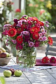 Pink-red bouquet with Zinnia (Zinnia), Aster (Rough leaf Aster)